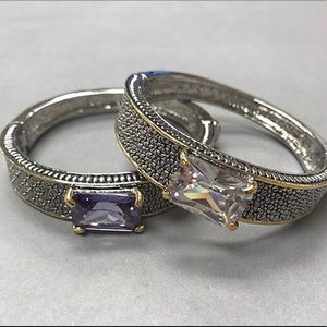 Large Rectangular Crystal Two-Tone Bracelet,NWT